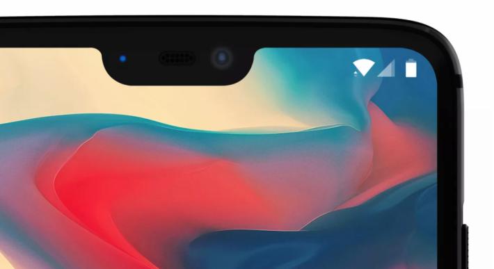 還未發布的 OnePlus 6 手機瀏海設計。
