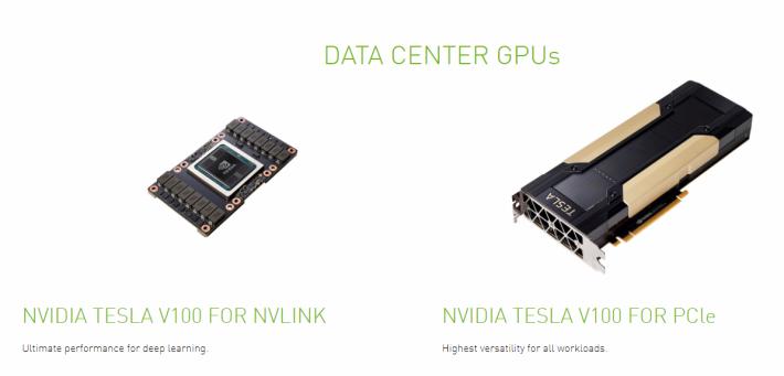 兩種 Tesla V100 都能升級至 32GB RAM。
