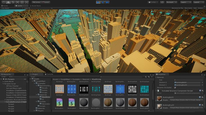 可以在 Unity 裡取用 Google Map 的 3D 建築物在遊戲上