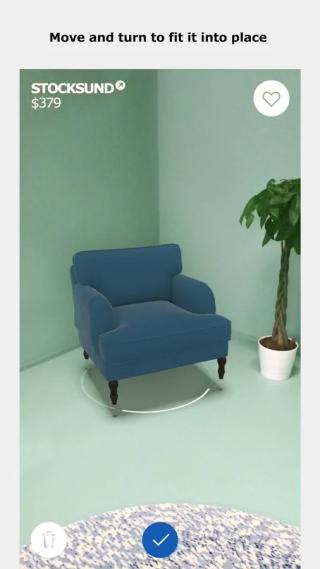 把 AR 模擬傢俱放在你的家中。