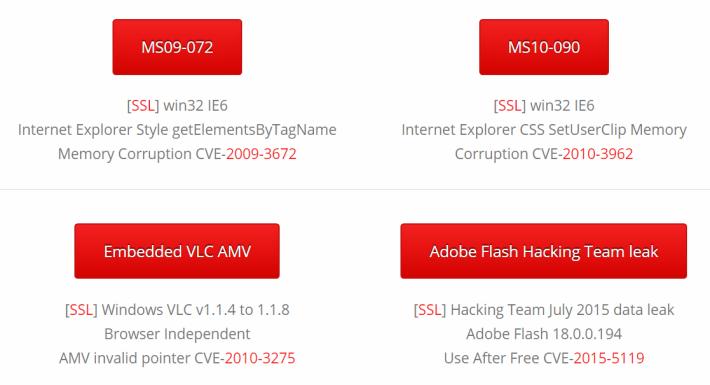 Wicar 網站提供多種過往病毒的樣品,例如是 VLC 及 Adobe Flash 相關的。