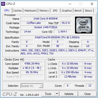 CPU-Z 顯示 Intel Core i9-8950HK 。