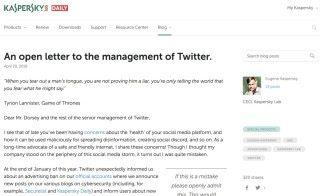 卡巴斯基 CEO Eugene Kaspersky 發公開信指責 Twitter 無理禁止他們貼廣告