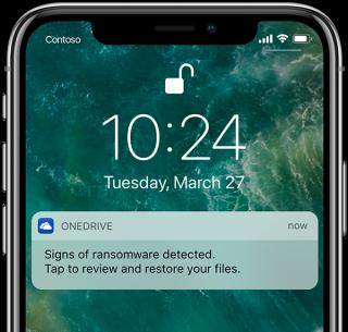 一旦 OneDrive 發現被惡意軟件襲擊,就會向用戶發出警告。用戶點擊警告就可以進入回遡畫面。