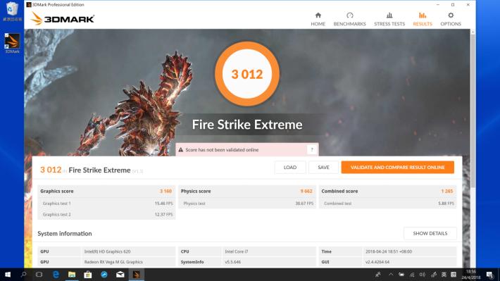 《3DMark Fire Strike Extreme》測試可取得 3,012 分。