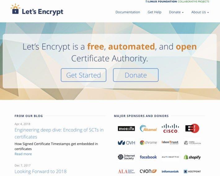 「 Let's Encrypt 」是著名的免費 CA ,得到不少 IT 巨企支持。