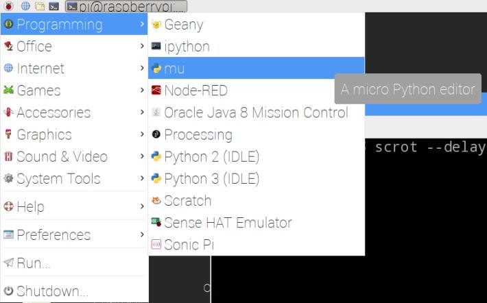 完成安裝後,樹莓派中的程式集便可以看見 mu 程式。