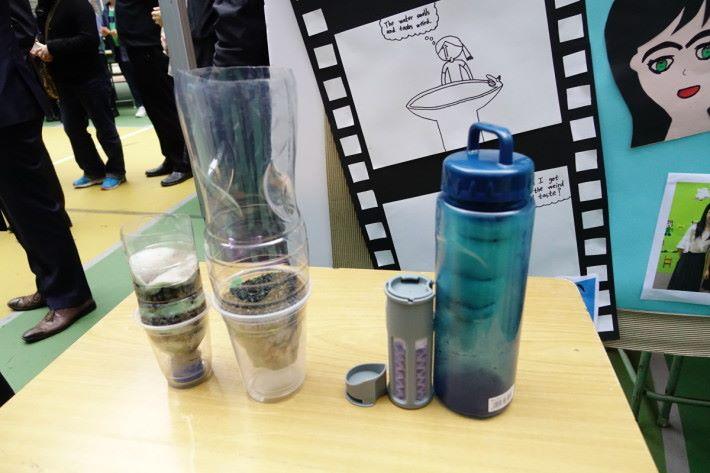 同學們曾製作三款濾水器作測試。