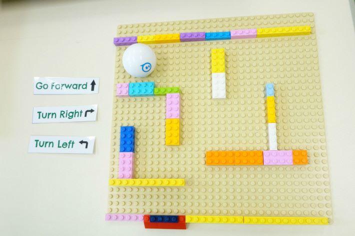 完成後,拿走卡紙,同學就要用一旁的卡進行初步編程,當設計好順序後,就可用 Sphero 2.0 走出迷宮。