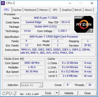 當配上 240mm 冷排的一體式水冷散熱作測試,AMD Ryzen 1700X 可在 1.45V 電壓超至 4GHz。