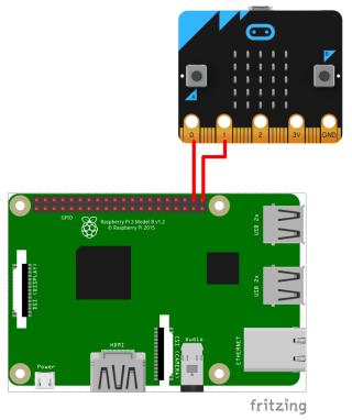 樹莓派及 Micro:bit 的接線連接。