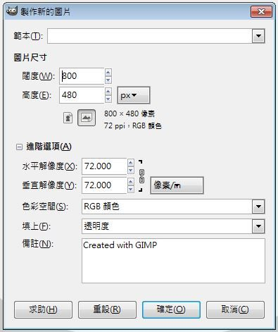 Step 2: 建立新圖片,圖片尺寸是 800×400 像素,並且於進階選項,填上的選項是「透明度」。