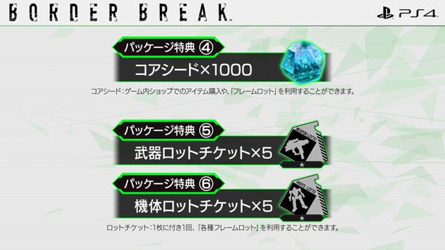 新手包特典四至六, 於遊戲中購買道具及抽蛋的 「 Core Seed」1000 個 ,以及武器、機體抽蛋卷各 5 張。
