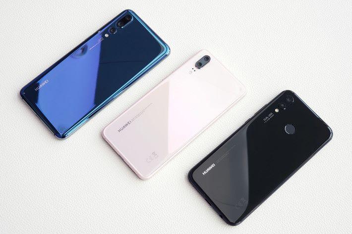 左起:P20 Pro、P20、P20 Lite。三者均使用玻璃機背設計風格,但 P20 Lite 將指紋感應器移到機蛹。