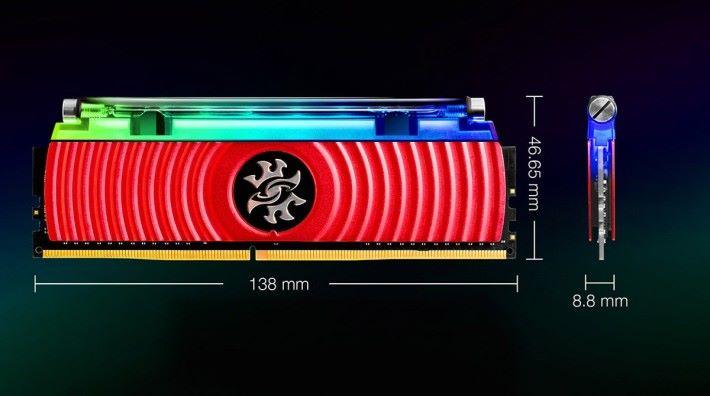 闊度僅比其他 XPG 電競 RAM 型號稍厚 1mm。
