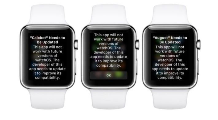 WatchOS 4.3.1 裡面出現針對 WatchOS 1 應用軟件的支援警告