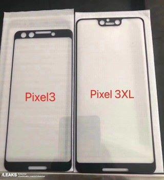 早前有人在微博洩露了這張 Google Pixel 3 和 3 XL 的屏幕保護玻璃照片(來源:/LEAKS)