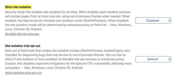 Chrome 電腦版裡兩個有關「網站隔離」功能的設定旗標,可以強制啟用或退出實驗。