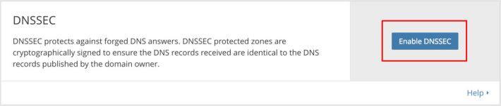 2. 撥到網頁下方,有 DNSSEC 一欄,按下「 Enable DNSSEC 」鍵;