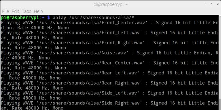首先將喇叭連接到 Raspberry Pi 的 3.5mm 插孔,然後開啟 Raspberry Pi 中的 Terminal 輸入下列指令:aplay /usr/share/sounds/alsa/*