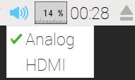 方法 1 :在 Raspberry Pi 桌面的右上方,有一個喇 叭圖示,右按該圖示並選擇 Analog ( 3.5mm 輸出)。
