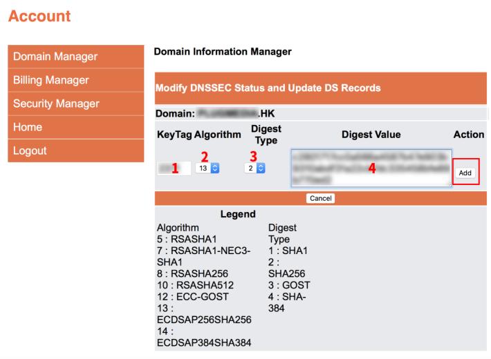 6. 將第 3 步中 CloudFlare 顯示出來的資料,按圖中編號拷貝過去。要留意 HKDNR 裡 Digest Type (雜湊類型)是用數字來代表的,要對照 CloudFlare 上的資料來選擇。填妥後就按「 Add 」鍵繼續;