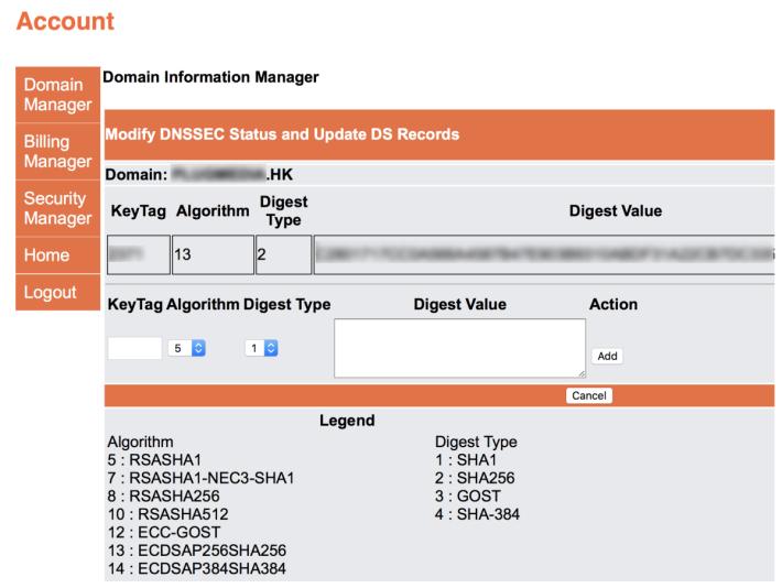 8. 這時可以再次選擇 HKDNR 裡的域名和 DNSSEC 選項來確認資料已生效,也可以刪除或新增其他 DNSSEC 資料(如果你的公司網站採用多間供應商的 DNS 的話);