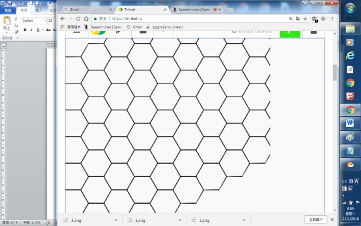 完成後的六邊形平面圖密鋪。