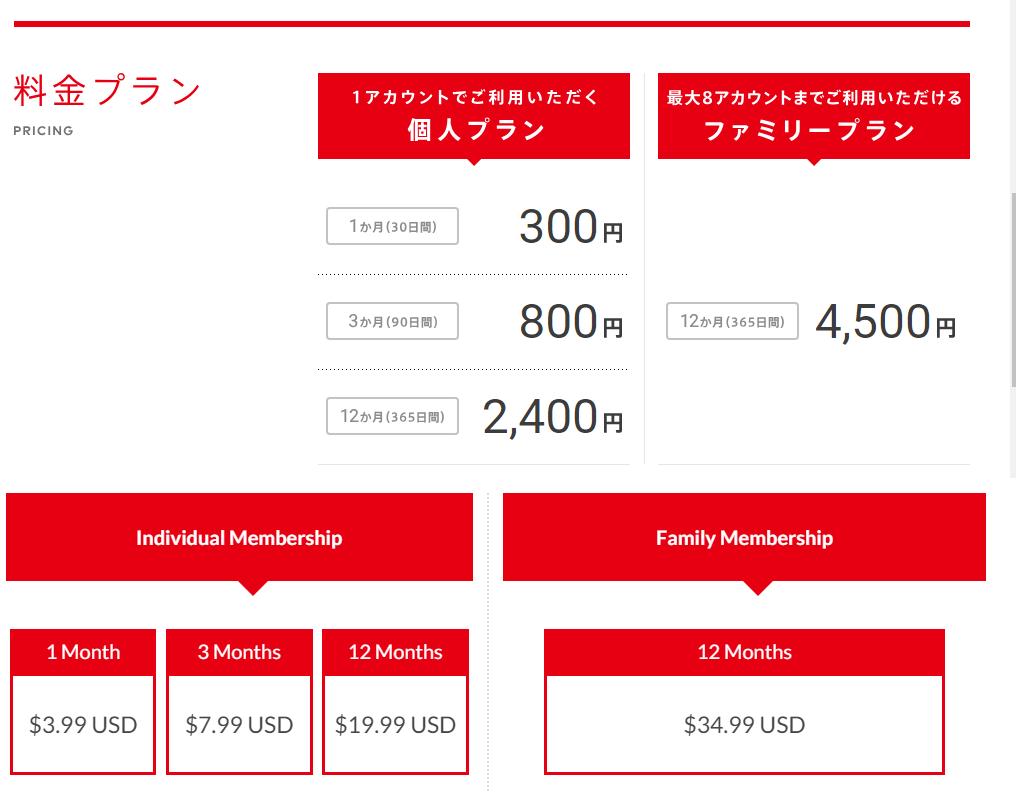 日本以及美國 Nintendo Switch Online 收費。