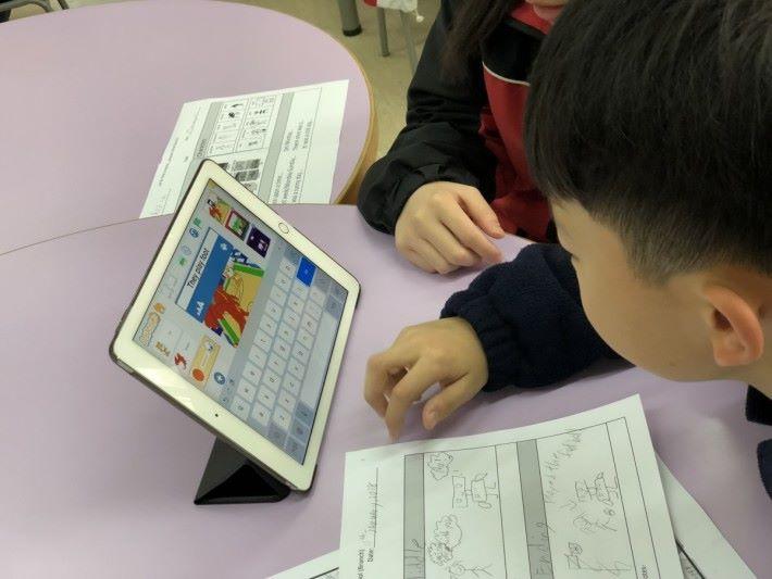 學生用 ScratchJr 編寫程式把故事用動畫型形式演釋,最後用動畫及所寫的文章作匯報,進行互評及互相分享有趣故事。