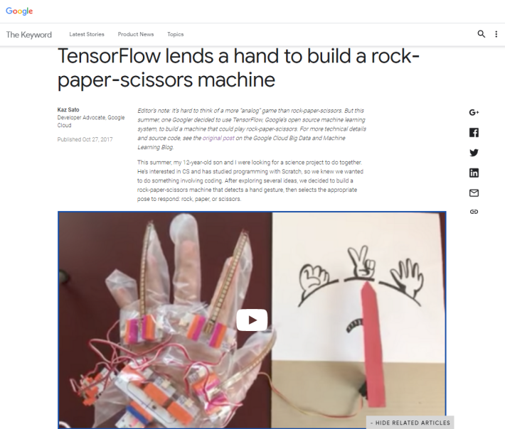 機械學習於過往必然是大學或以上課程,現在 12 歲的學童也可運用 Scratch 、 littleBits 、 Arduino 和 TensorFlow 等工具,製作出「猜包剪揼」的AI產品。