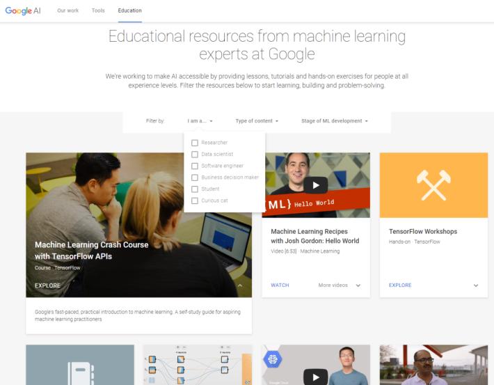 Learn with Google AI 網站提供了選單,方便學習者篩選所適合的內容。