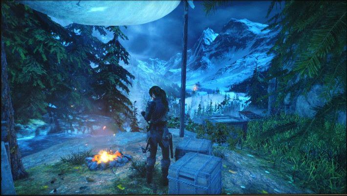 《Rise of Tomb Raider 》使用「FPS 模式」下 進行遊戲,昏暗的森林場 景也能看到各個細節,輕 易捕捉敵人的身影。