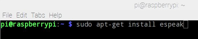 安裝 eSpeak 軟件的方法非常簡單,只要在 Terminal 中輸入指令: sudo apt-get install espeak