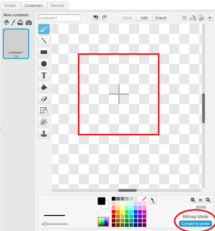 Step 2 :按右下角的放大符號,會發現繪圖板的中間有一個十字記號代表新增圖案的中心點,以個中心點繪畫一個邊長 8 格單位的正方形,並且按下「 Convert to vector 」使圖像轉變為向量圖。