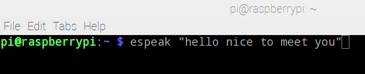 """完成後,就可以使用 eSpeak 軟件,在 Terminal 中輸入下列的測試指令: espeak""""hello nice to meet you"""""""