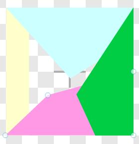 Step 4 :再按下「 Reshape 」圖標,將長方形改變為不規則三角形,四個不規則三角形的頂點均為同一點。