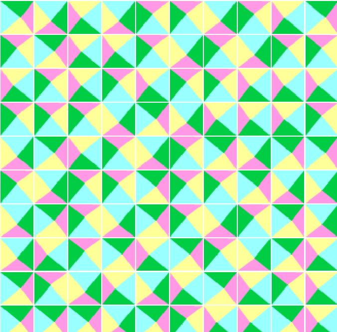 完全圖:完成後, 按下綠色旗, Scratch 便會以你所設計的正方形為基礎,製作平面密鋪的圖像,因為在程式中加入隨機旋轉,令整個圖像有不規則的感覺。