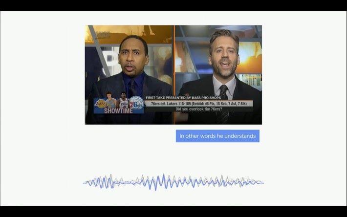 Looking to Listen 的技術就能夠以聲音和視覺作為線索,能輕易分辨出不同的人聲並配上對應的字幕。