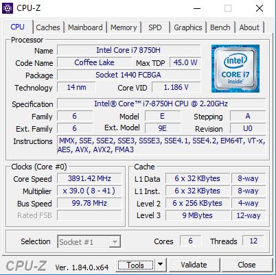 CPU-Z 顯示 i7-8750H 的資料。