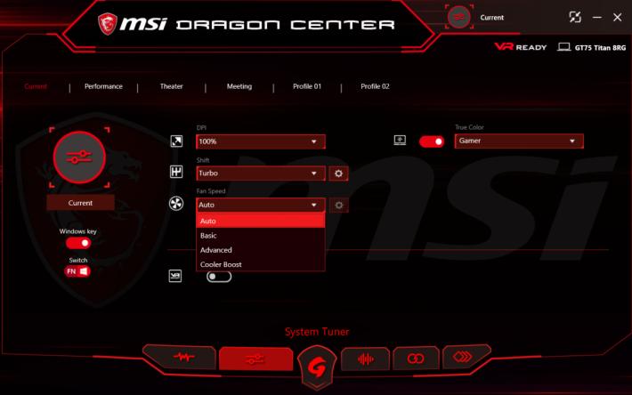 可在 MSI Dragon Center 設定用 Cooler Boost 散熱模式,那就會把風扇開到最大。