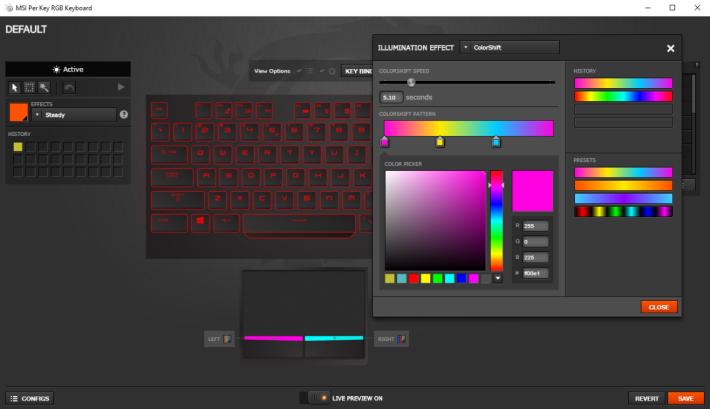 可自行設定每一個鍵的顏色。