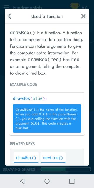 關卡之間,間中會有星星解釋該程式碼的功能。