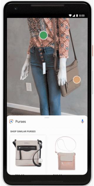 只要將鏡頭向著想查找的產品,點選畫面出現的圓點,程式便會自動替用家找到相應產品。