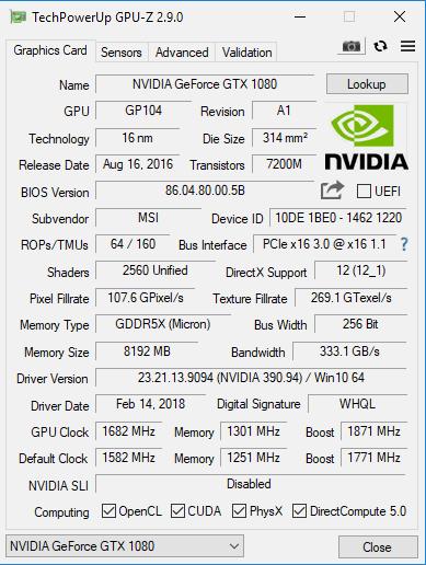 GPU-Z 顯示此筆電版 GTX 1080 的資料。