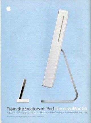 當時 iMac G5 的廣告,委明顯就是說給大家聽,設計靈感來自 iPod。