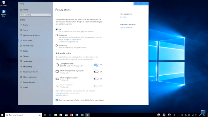 Focus Assist 是今次 Windows 10 April Update 的其中一個新功能。用家可在工作忙碌時設定這個模式,禁止無關痛癢的通知彈出來,以免影響專注力。不過 Intel 600P / 6000P SSD 的用戶,就千萬別被這功能吸引到,而下載 Windows 更新啊。