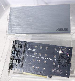 ASUS Hyper M.2 x16 card V2 RAID 卡上帶有風扇,並帶鋁材質外殼作散熱之用。