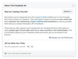 如果廣告是由廣告主點名指定給你看的話,將來就可以看到理由。