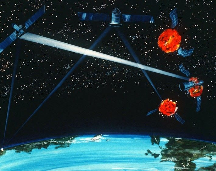 當年列根提出的「星球大戰計劃」的構想圖(來源:維基百科)